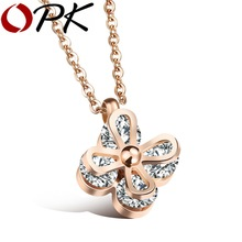 OPK Flower Pendant Necklace For Women Inlaid Clear Cubic Ziconia Rose Gold Color  Elegant Jewelry Ladies's Gift, GX1112