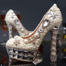 Ivory Wedding Dress Shoes New Fashion Elegant Luxurious 5 Inches High Heel Crystal Beaded Bridal Shoes