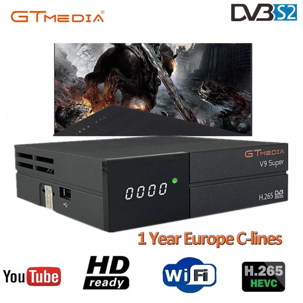 Récepteur Satellite média GT V9 Super DVB-S2 H2.65 récepteur TV SUPER Satellite FREESAT V9 HD 1080P avec 1 an 7 lignes