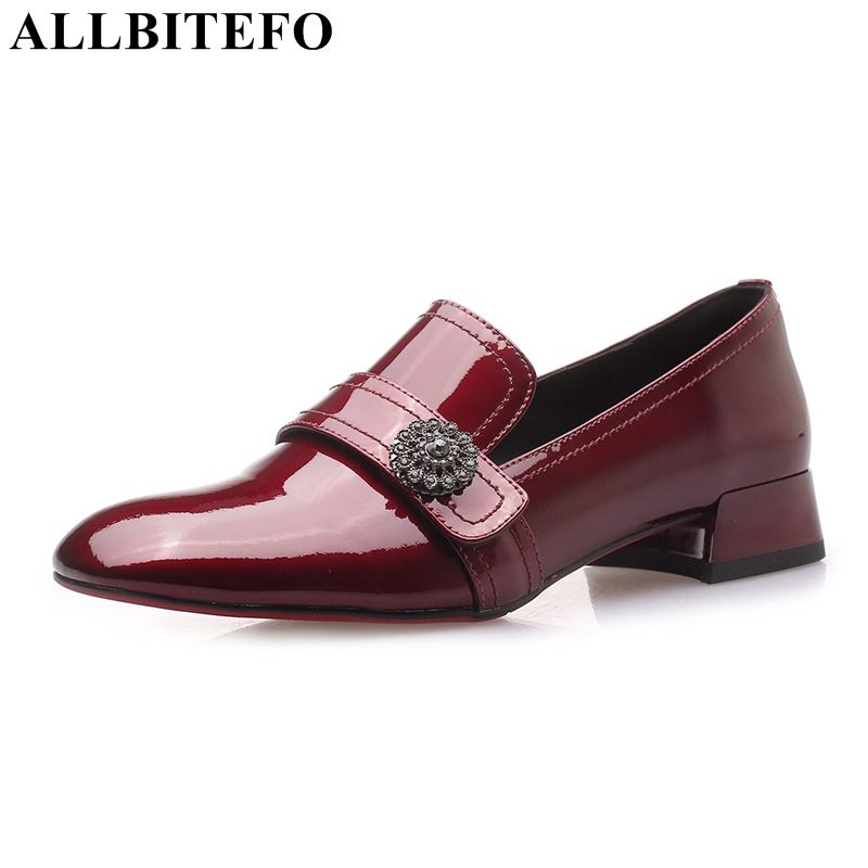 ALLBITEFO genuine leather women heels shoes square toe high heel shoes spring heels girls fashion comfortable