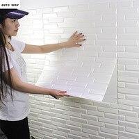New 3d Self Adhesive Brick Wall Stickers Waterproof TV Background Wall Brick Wallpaper Foam Wallpaper Bedroom