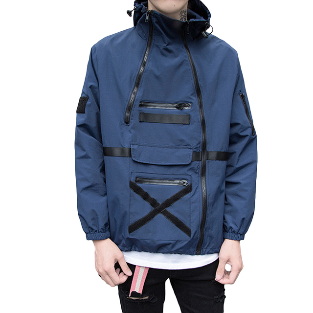 Loose Trench Coat Zipper Hooded Coat Winter Men's Fashion Tops Outwear PatchworkIrregular Coat For Males Spring Clothes