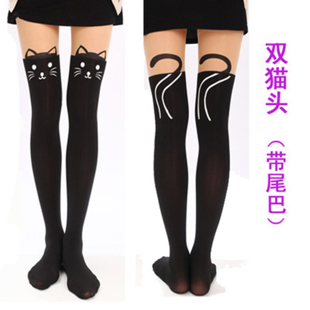 bffc7cc44 Detail Feedback Questions about Japanese cat printing stitching stockings  harajuku cute cos animal breathable elasticity black women pantyhose slim  fit ...