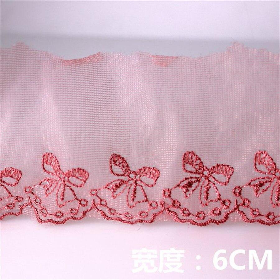 15yard* 6cm Embroidery Pink Lace Ribbon Organza Lace DIY Sewing ...