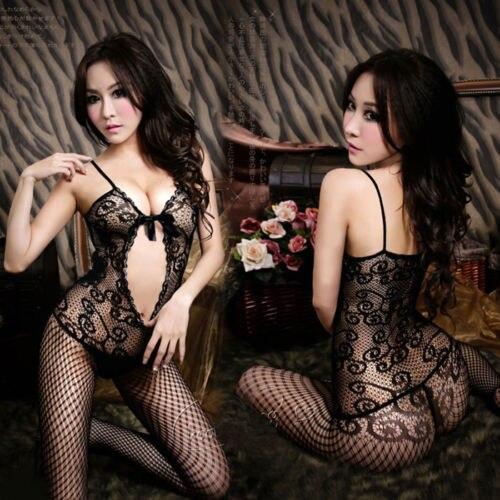 Sexy Women Ladies Fishnet Lingerie Nightwear Crotchless Body Evening Cocktail Stocking Bodysuit Black