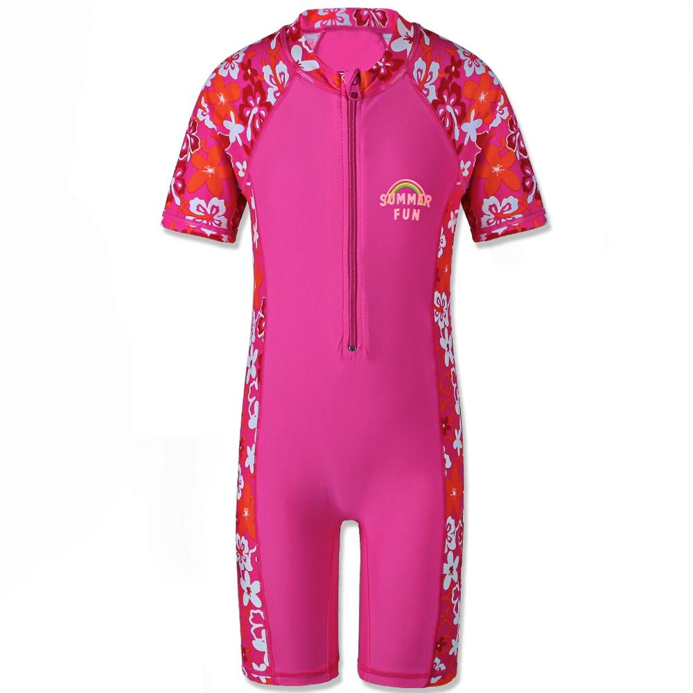 2018 Baby Girls Rash Guards Surf Badkläder med dragkedja UV 50+ Sun Beachwear Kortärmad En-Piece Set för 4-10Y