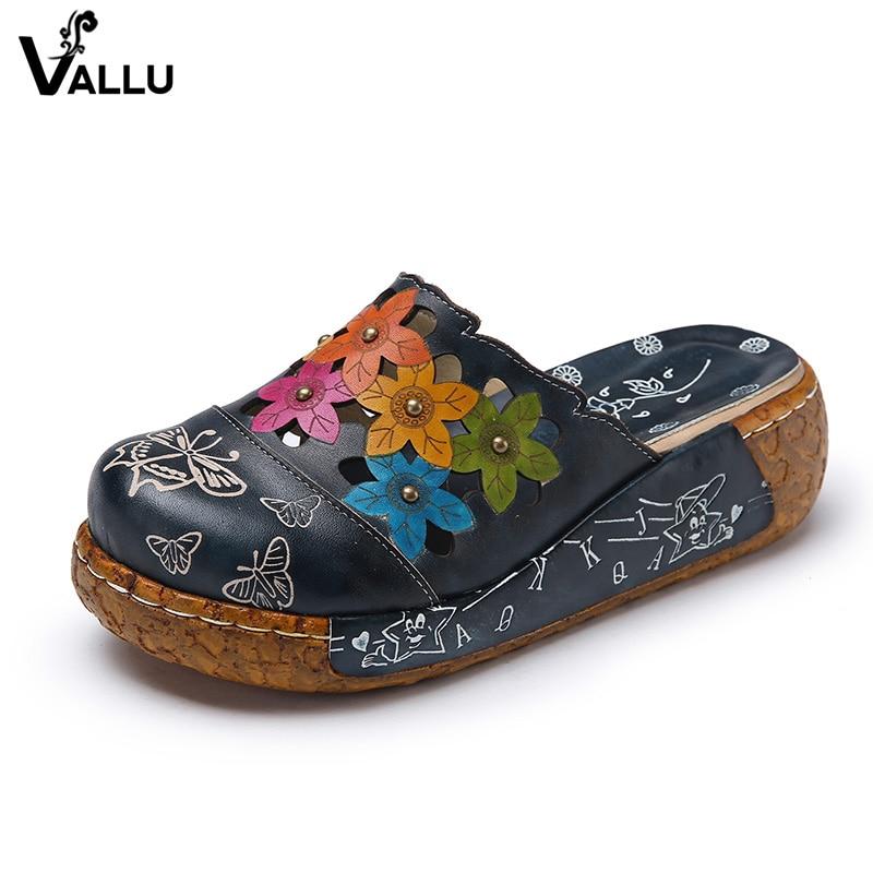 2018 Zapatillas de mujer hechas a mano Cuero genuino Punta cerrada Flor Plataforma Mujer Zapatos Diapositivas