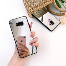 Note 9 Mirror Case For Samsung galaxy S8 S9 Plus Cosmetic Mirror Phone Case Note 8 Note 9 shockproof Glossy Tempered Glass cover(China)