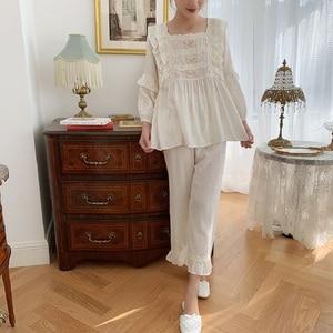 Image 4 - Üstün yumuşak keten pamuk kadın yay pijama setleri kadın gevşek sevimli pijama bahar sonbahar rahat pijama artı boyutu