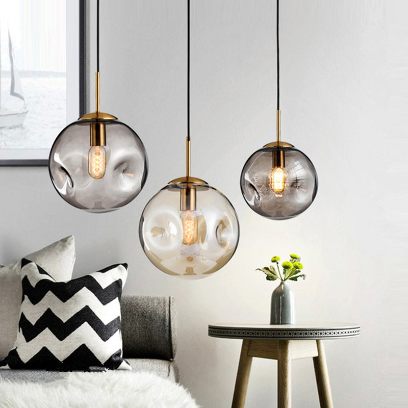 Nordic Pendant lights Glass pendant lamps for Kitchen living room bedroom Home lighting Ceiling Fixture globe Hanging Lamps