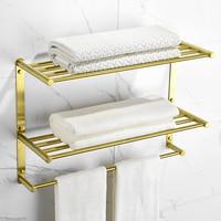 3 Layer Bathroom Shelf Stainless Steel Bathroom Accessories Towel Bar Brushed Gold Towel Holder Bathroom Towel Rack Wall Mounted