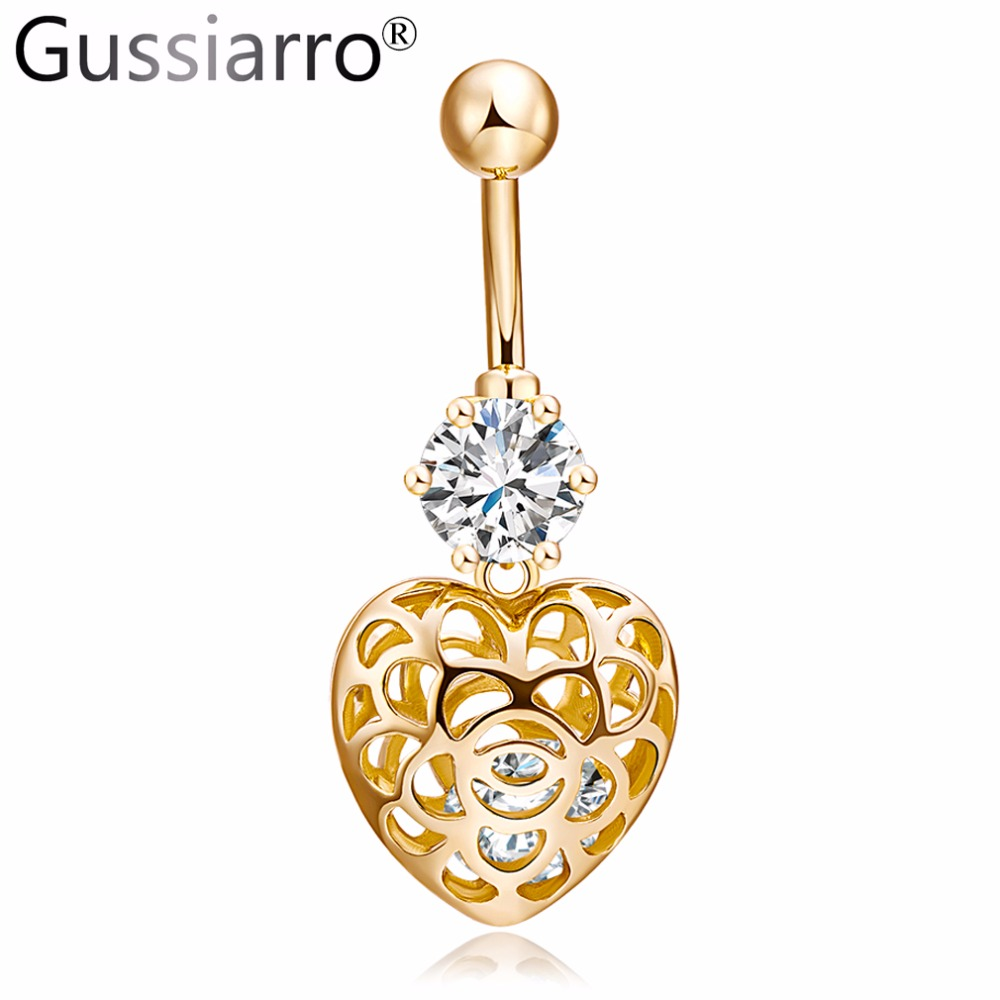Aliexpress Com Buy 1440pcs Gold Bottom Crystal Clear: Gussiarro 2019 Cute Heart Gold Color Clear AAA Crystal