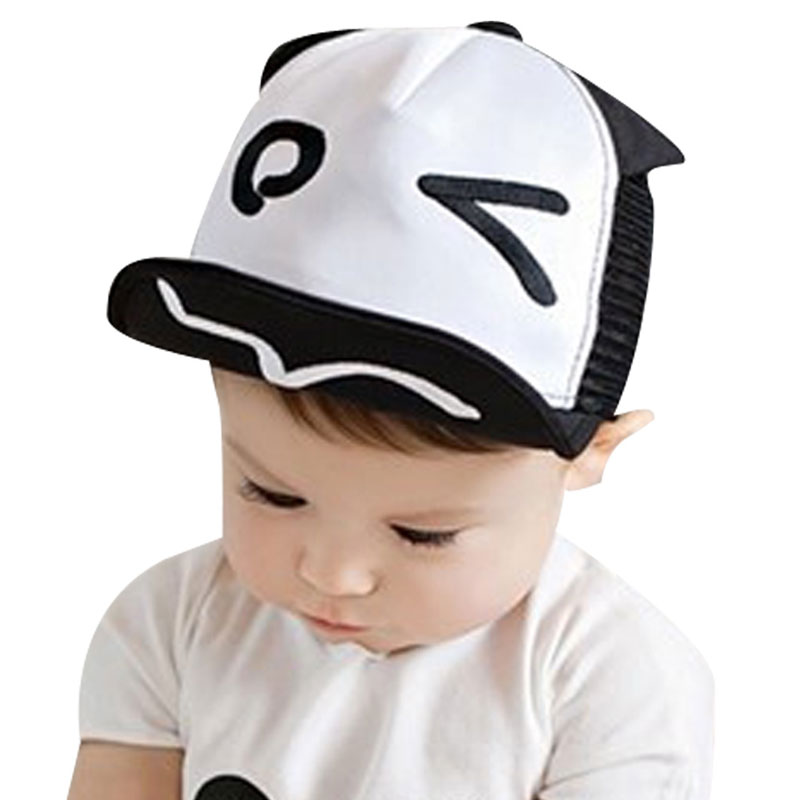 Summer Kids Hats For Chidren Infant Baby Caps Beret Cute Cartoon Baby Boy Baseball Hat Black White Hats For Boy