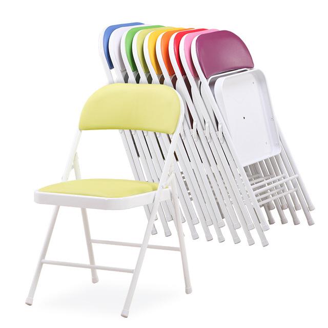 6 pçs/lote Cadeira Da Conferência de Alta Qualidade Portátil Dobrável de Metal Simples Cadeira de Escritório Cadeira Do Computador Cadeira de Lazer Elegante Casa Ao Ar Livre