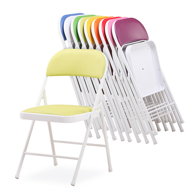 6 pcs / lot High Quality Portable Folding Conference Chair Simple Metal Office Computer Chair Stylish Leisure Home Outdoor Chair