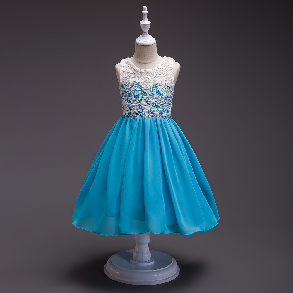 Flower Girl Chiffon Patchwork Elegant Party Dresses Size 3 5 6 7 8 9 ...