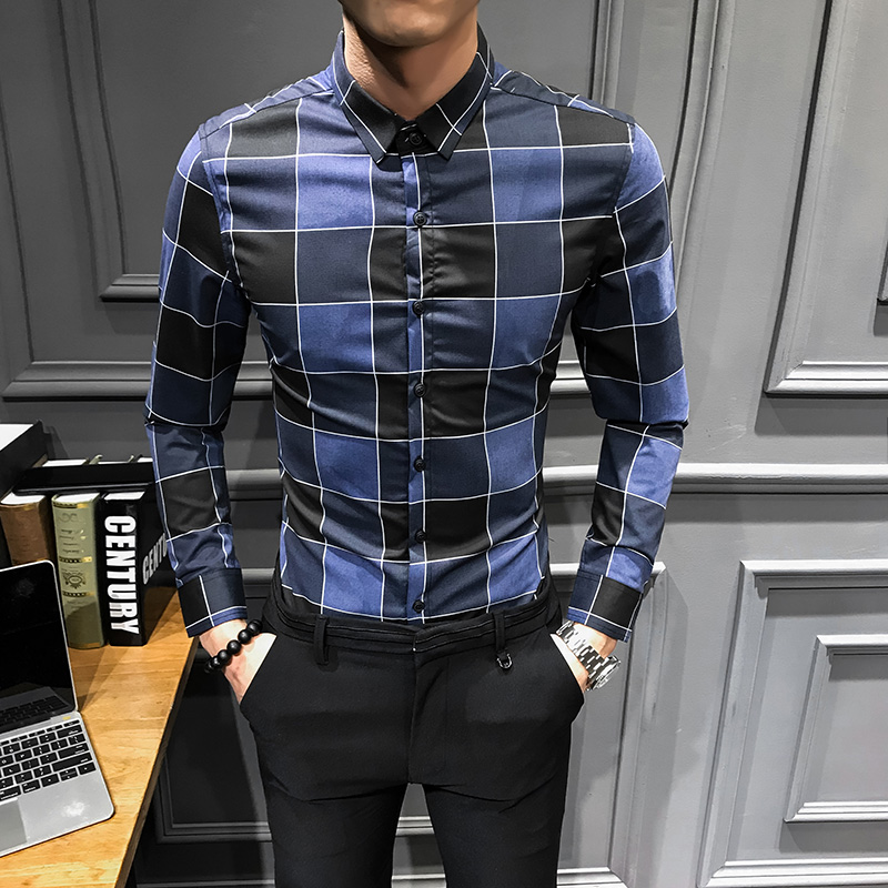 2019 Spring New Plaid Shirt Brand All Match long sleeve shirt men streetwear fashion mens shirts casual slim fit tuxedo dress Рубашка