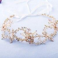 Dower me Handmade Rhinestone Bridal Tiara Headband Gold Floral Headpiece Wedding Crown Hair Accessories Women Jewelry