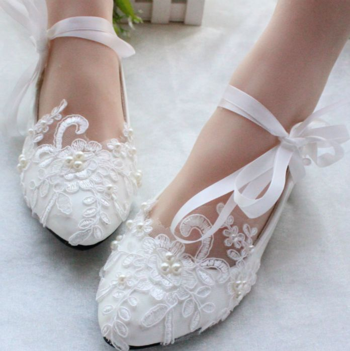 100% DELICATE HANDMADE WOMENS Wedding Bridal Shoes Ribbons White Light Ivory  Lace Bridesmaid Brides Bridal Shoe