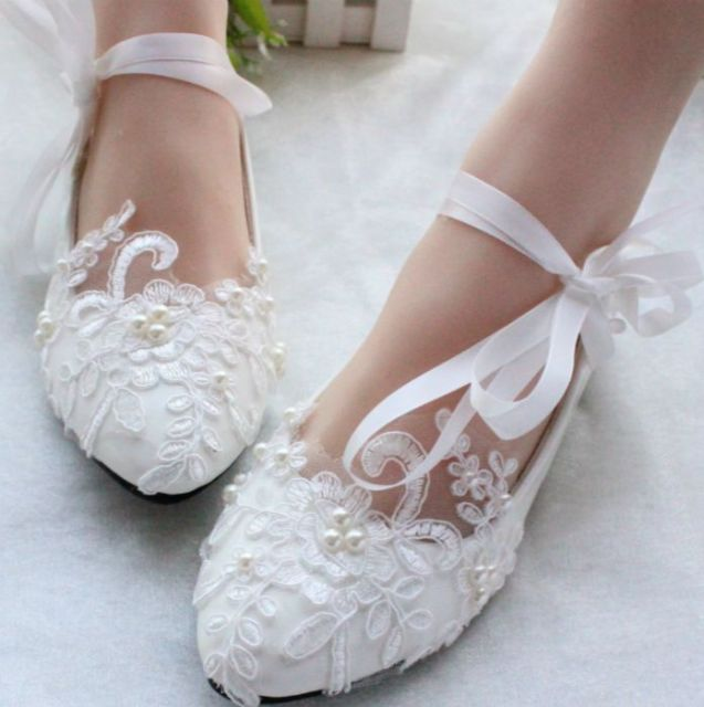 100 Delicate Handmade Womens Wedding Bridal Shoes Ribbons White Light Ivory Lace Bridesmaid Brides