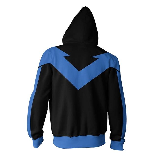 CJLM Nightwing Hoodie Dc Comics Batman Cosplay Costume Warm Blue Black 3D Print Patchwork Sweatshirts Hoodie Zip Jackets For Men