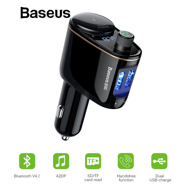 Baseus Bluetooth מטען לרכב FM משדר LED דיגיטלי מתח תצוגת לשקע ספליטר רכב טלפון מטען
