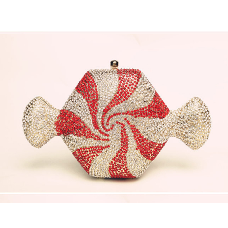 XIYUAN BRAND Red Crystal Evening Bag Luxury Diamond Women Party coin Purse Mujer Wedding Clutches Prom Packet Handbags for phone xiyuan brand luxury evening bag gold silver diamond party prom purse women wedding bridal chain handbags mini cshoulder bag