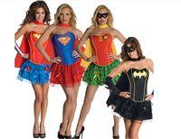 Mujer cosplay superman batman Capitán América superman de rol ropa niñas de cumpleaños de Halloween vestido de carnaval