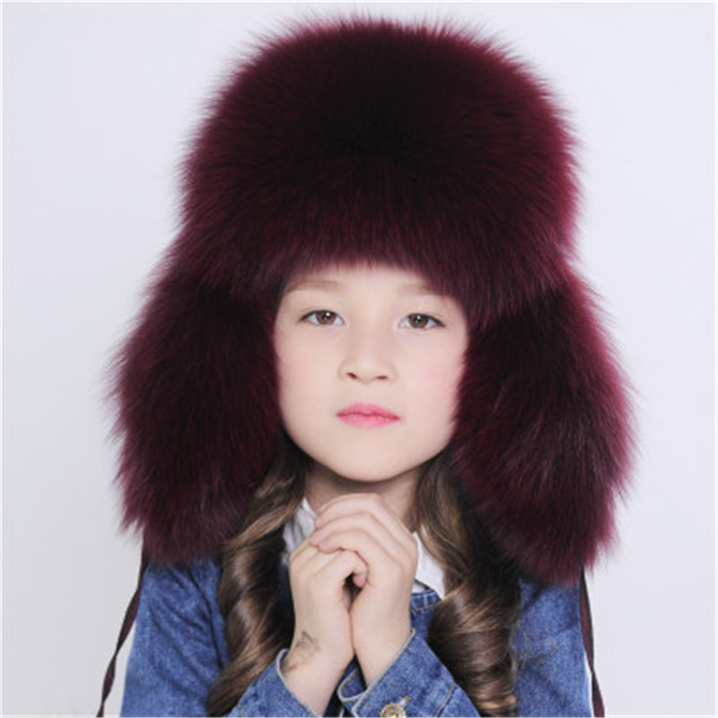 Winter Russia Fur Hat Winter Children Earmuff Warm Kids Fur Hat Women Ear fox fur Hat Cap Boy Girl Real Fox Fur Hat Bromber Caps