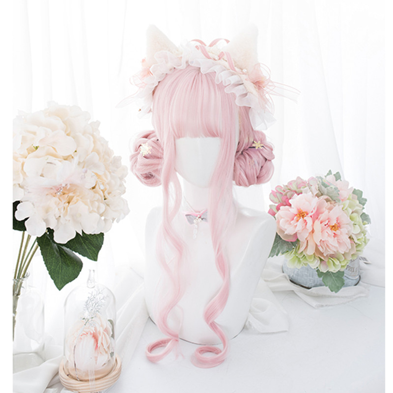 Cosplaysalon Wig Bangs Curly Lolita Pink Long Ombre Synthetic Heat-Resistant Cute 60CM