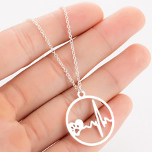 Trendy Dog Paw Necklaces Women Collier New Stainless Steel Heartbeat Heart Puppy Paw Necklace Jewelry Collares татуировка переводная heartbeat