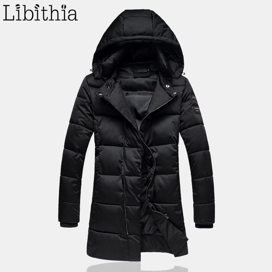 Men Slim Fit Cotton Down Parka With Detachable Hat Long Style Thick Warm Casual Coats Windproof Winter Big Size M-5XL Black K106 ouekanlysian winter parka jacket men outwear thick fur hooded long down cotton parkas coat slim fit hat detachable parka green