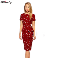2015New Vintage Dot Print Short Sleeve Puff Natural O Neck Bow Knee Length Party Dress