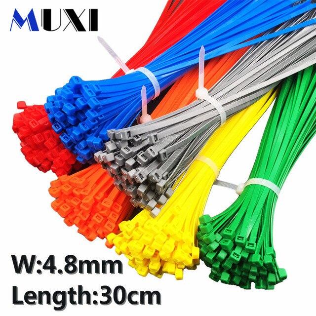 100 pièces/sac 5x300 5*300 4.8mm largeur auto-bloquante vert rouge bleu jaune fil de Nylon serres-câbles. serres-câbles