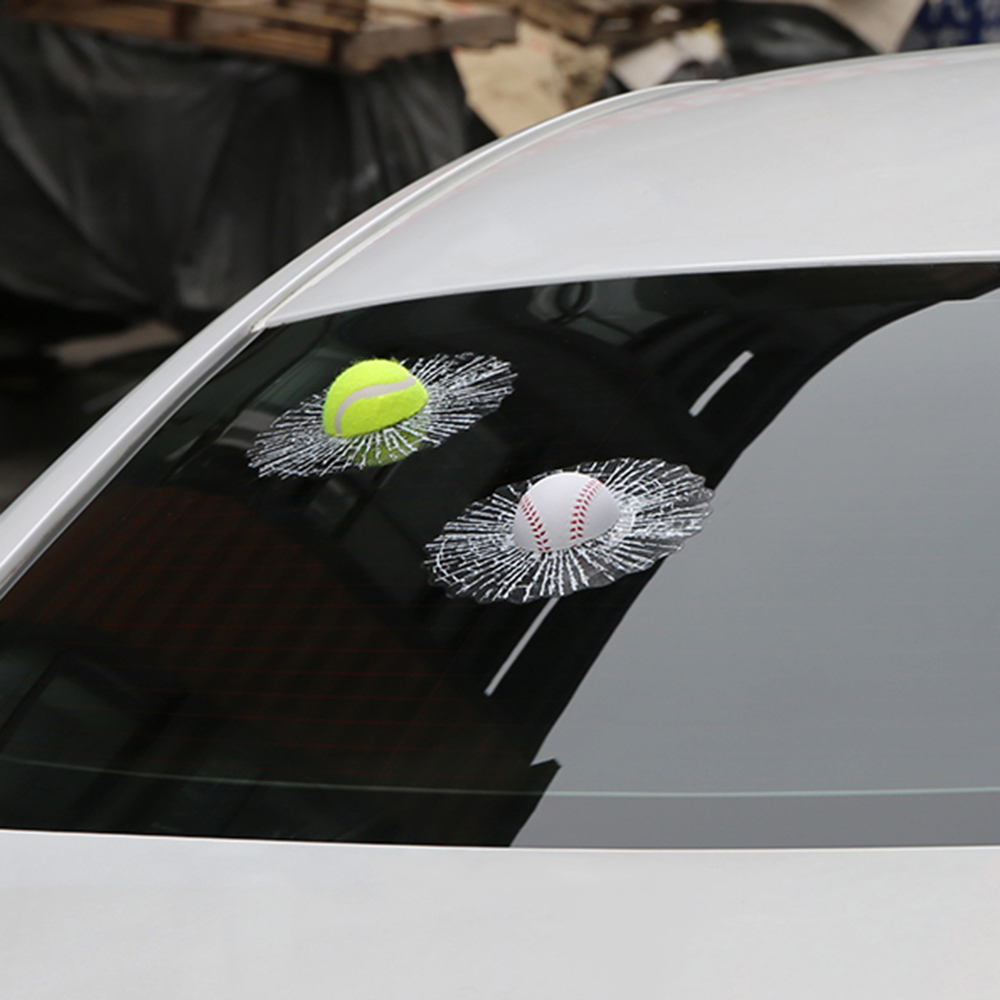 New car sticker design - New Car Stickers And Decals Styling Ball Hits Car Window Tennis Body Sticker Design Self Adhesive Baseball Funny Car Auto
