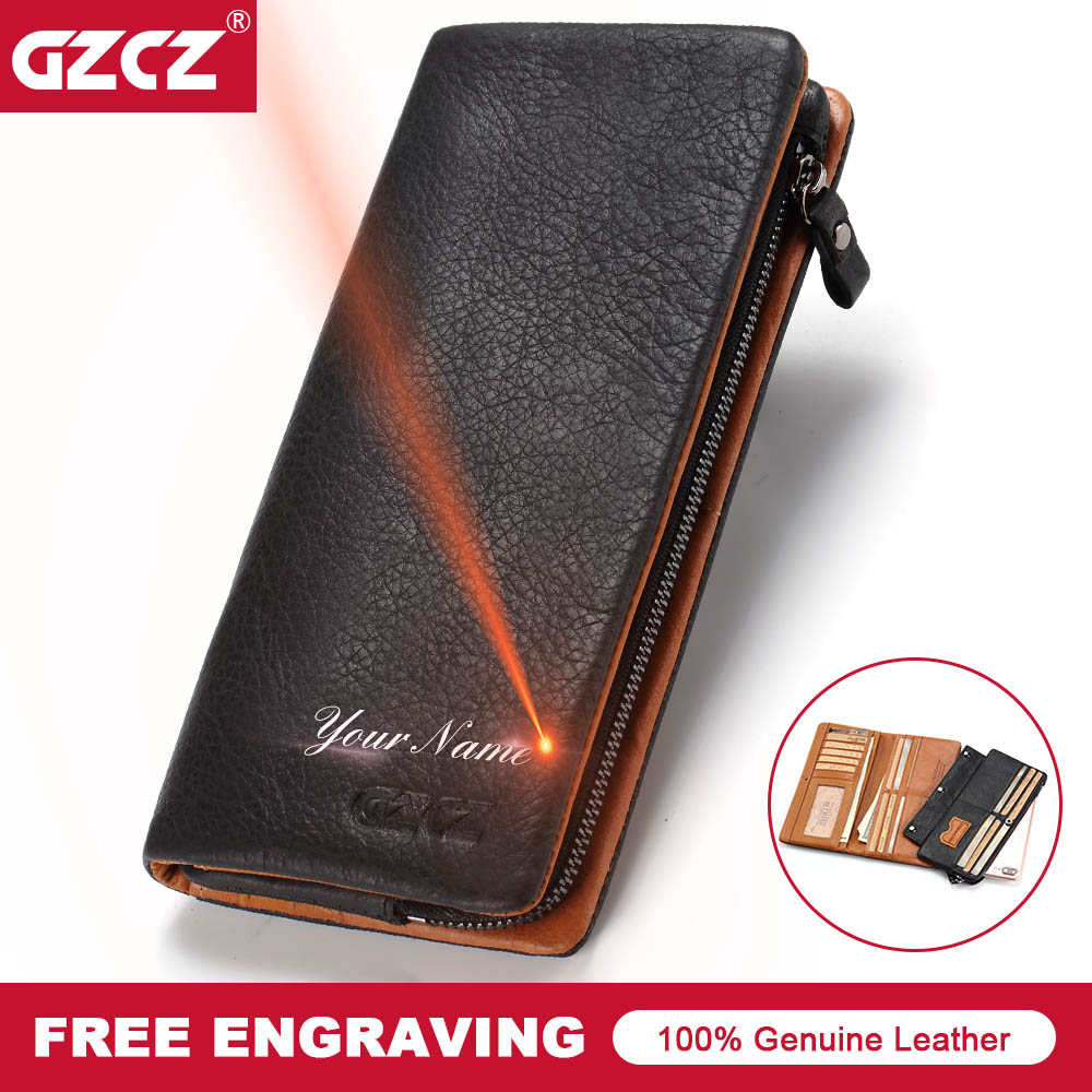 GZCZ Men Genuine Leather Wallet Fashion Long Wallets Interior Zipper Vallet Card Holder Coin Pocket MenS Purse Clamp For Money