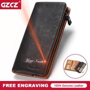 Image 1 - GZCZ ผู้ชายหนังแท้กระเป๋าสตางค์แฟชั่นกระเป๋าสตางค์ยาวซิปภายใน Vallet Card Holder กระเป๋าเหรียญผู้ชายกระเป๋าสตางค์ CLAMP For Money