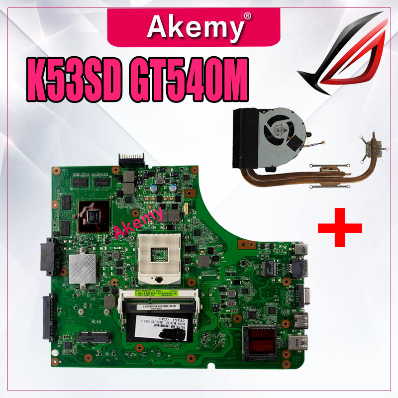 Send Heatsink For ASUS K53SD K53S A53S Laptop motherboard Mainboard K53SD Motherboard test 100 OK Motherboard