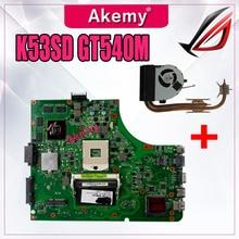 Отправить радиатора для ASUS K53SD K53S A53S Материнская плата ноутбука K53SD материнская плата Тест 100% OK материнская плата GT540M 1 ГБ HM65
