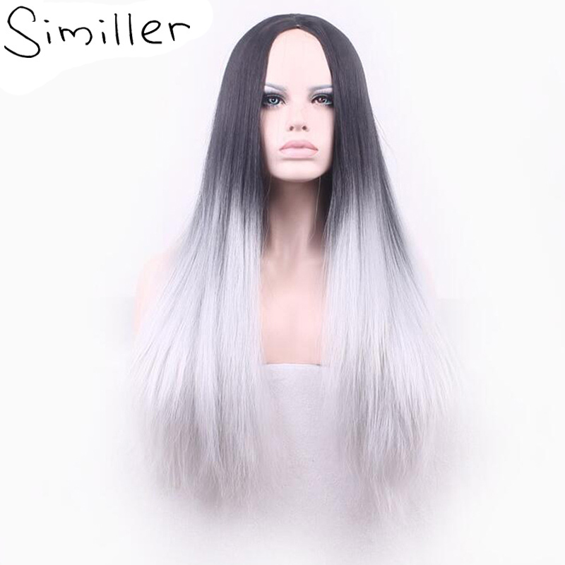 Similler 26 Long Straight Hair Two Tone Black And Grey Ombre Color Heat Resistant Fiber Synthetic