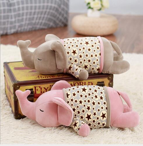 WYZHY down cotton elephant pillow plush toy sofa decoration to send friends and children gifts 50CM