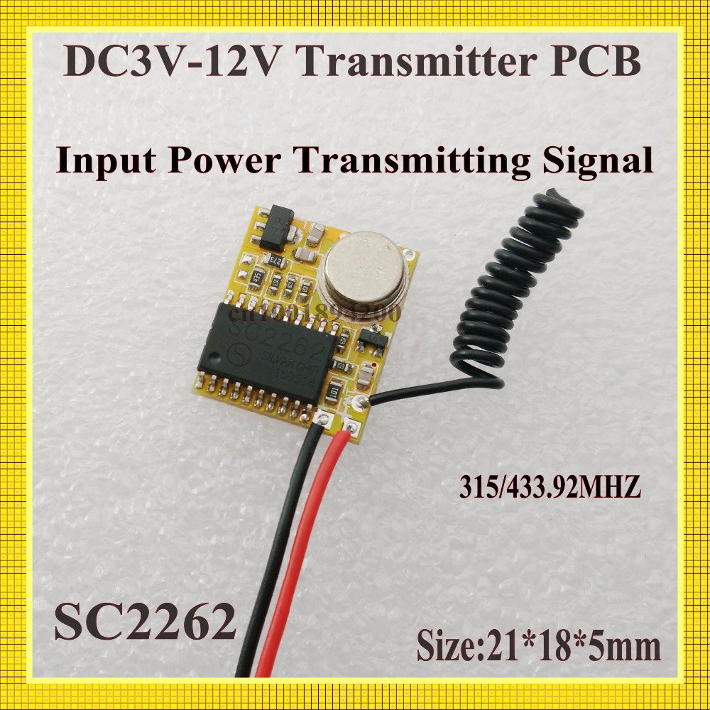 RF Transmitter PCB 3V-12V 3.7V 4.5V 5V 6V 7.4V 9V 12V Radio Remote Control PCB Input Power Transmitting Signal 315/433Fixed Code 315 433mhz 12v 2ch 6 transmitter