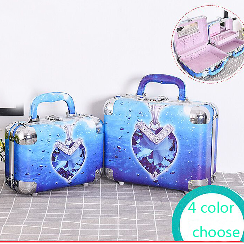 new arrive hot 2pc/set Portable Jewelry Box Make Up Organizer Travel Makeup Cosmetic Organizer Container Suitcase Cosmetic Case new arrival large make up organizer storage box cosmetic organizer suitcase women makeup box container travel cosmetic bag cases