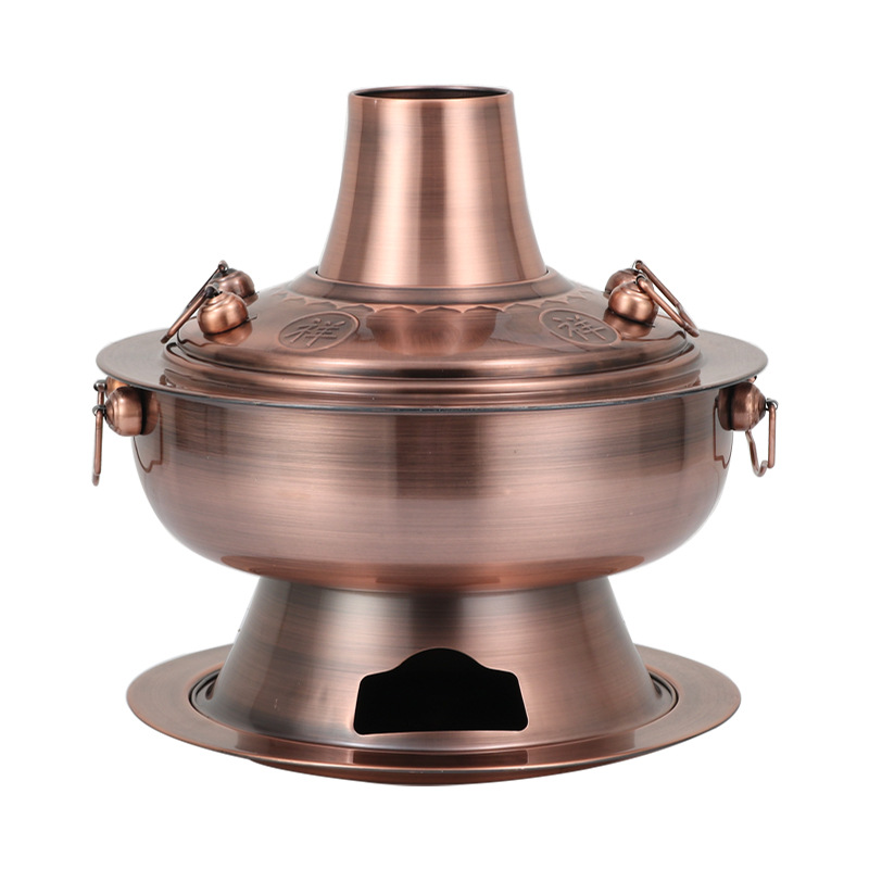Engrosada de acero inoxidable carbón chino cobre olla caliente viejo Beijing estilo olla caliente chino olla de Fondue de utensilios de cocina conjunto - 5