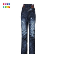 2016 GSOU SNOW retro vintage fashion derect selling wholesale black blue ski jeans pants ladies women windproof