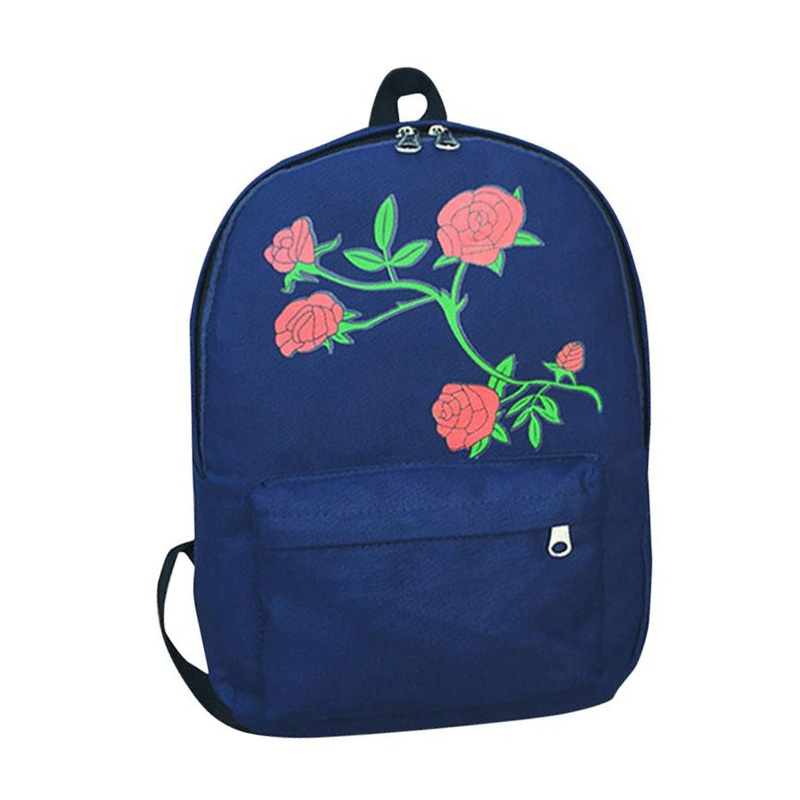 Rose Embroidery Backpack Women Girls Canvas Flowers Preppy Style School Bag Travel Backpack Bagpack Bag mochilas mujer 2017