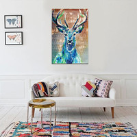 HD Unframed Canvas Abstract Elk Deer Prints Modern Decor Art Painting Picture Unique Gifts Home Decoration
