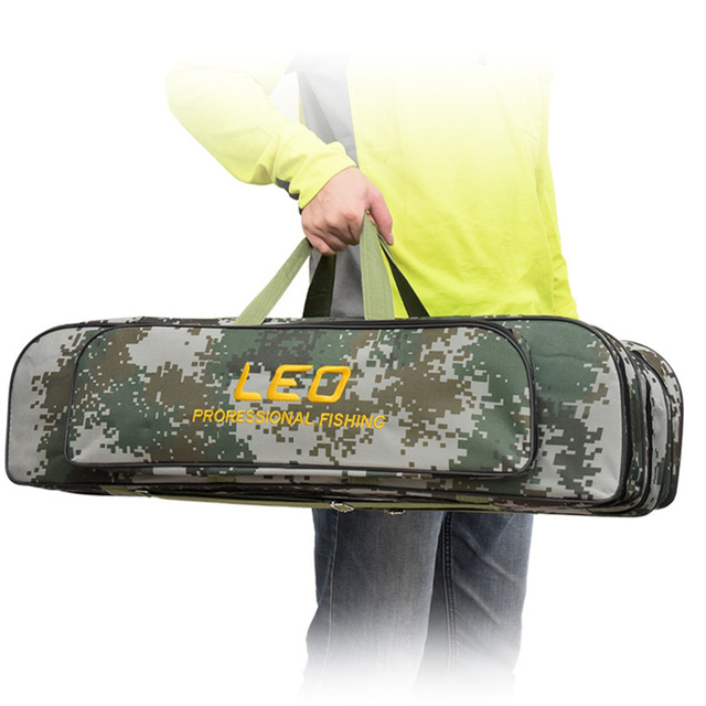 2018 Digital Camouflage Fishing Bags 600D Canvas 2/3 layer 80/90cm Fishing Rod Kit Tackle Boxes Multi-Purpose Fishing Gear Bags 1