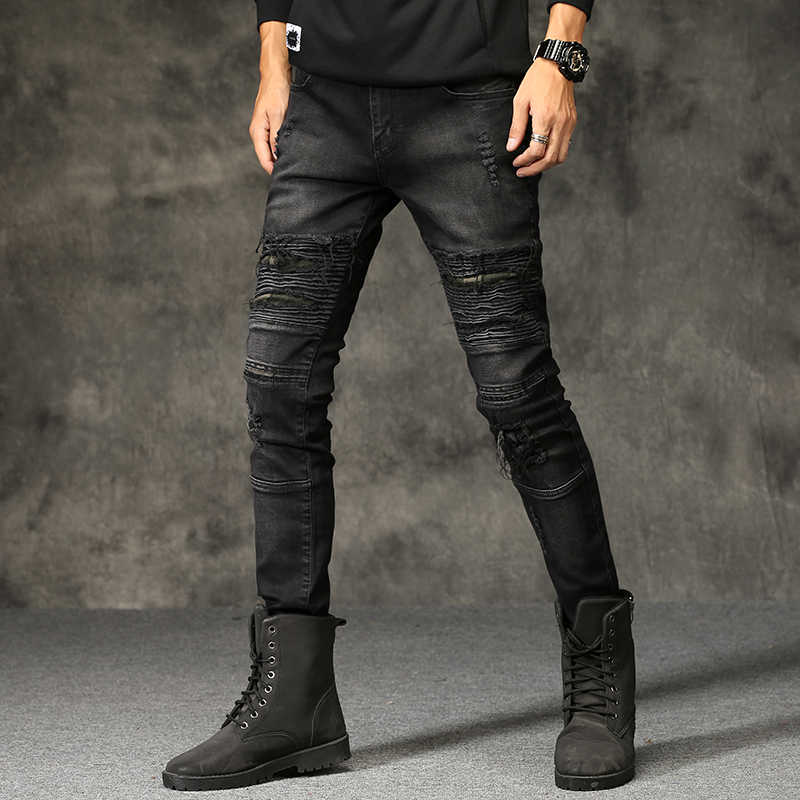 2019 新ファッションジーンズヒップホップモトメンズデザイナー服新ファッションユーズド加工リッピングデザイナーデニムバイカージーンズドロップシッピング