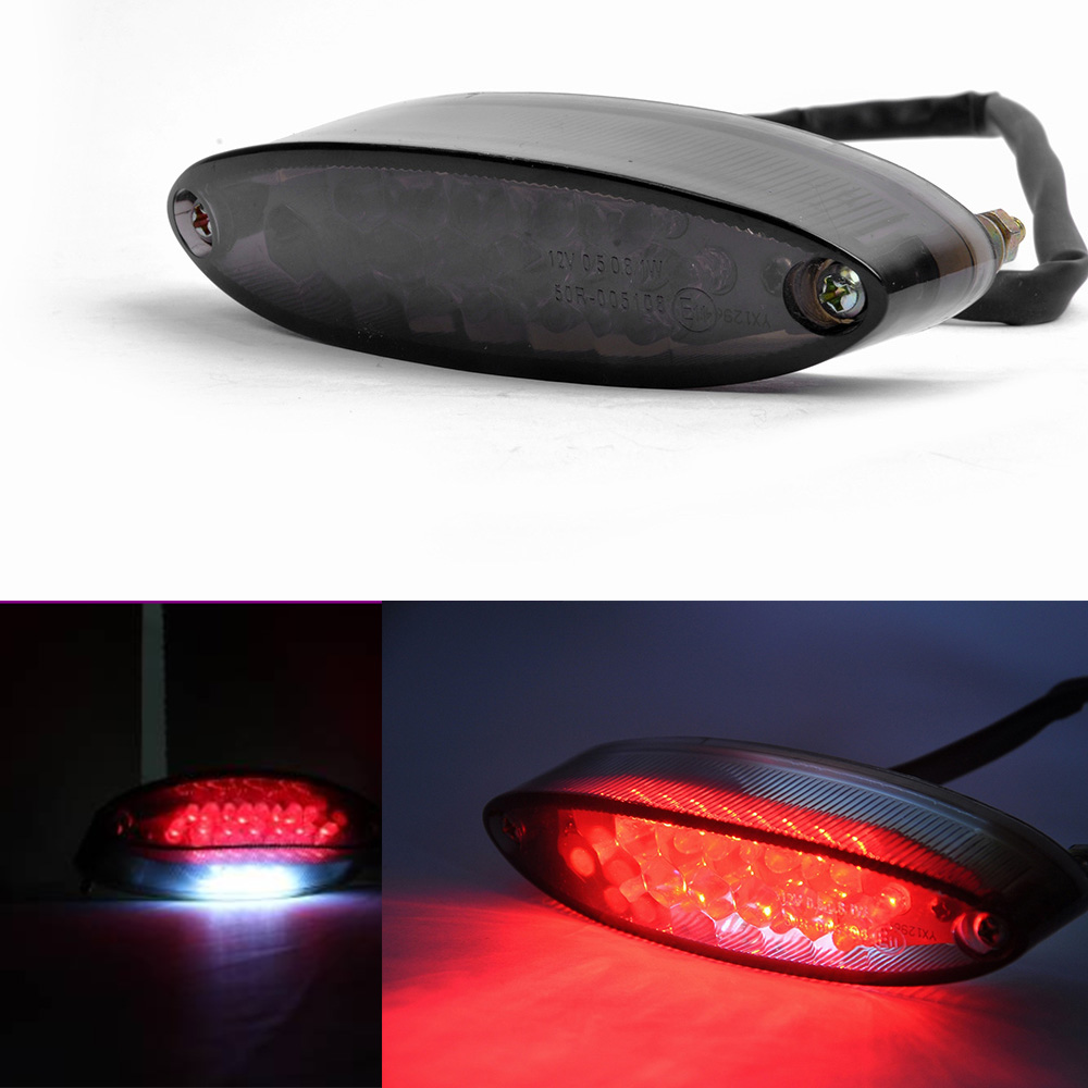 28 LED 12V Motorcycle Quad ATV Mini Smoke Lens Brake Running License Plate Tail Light цена
